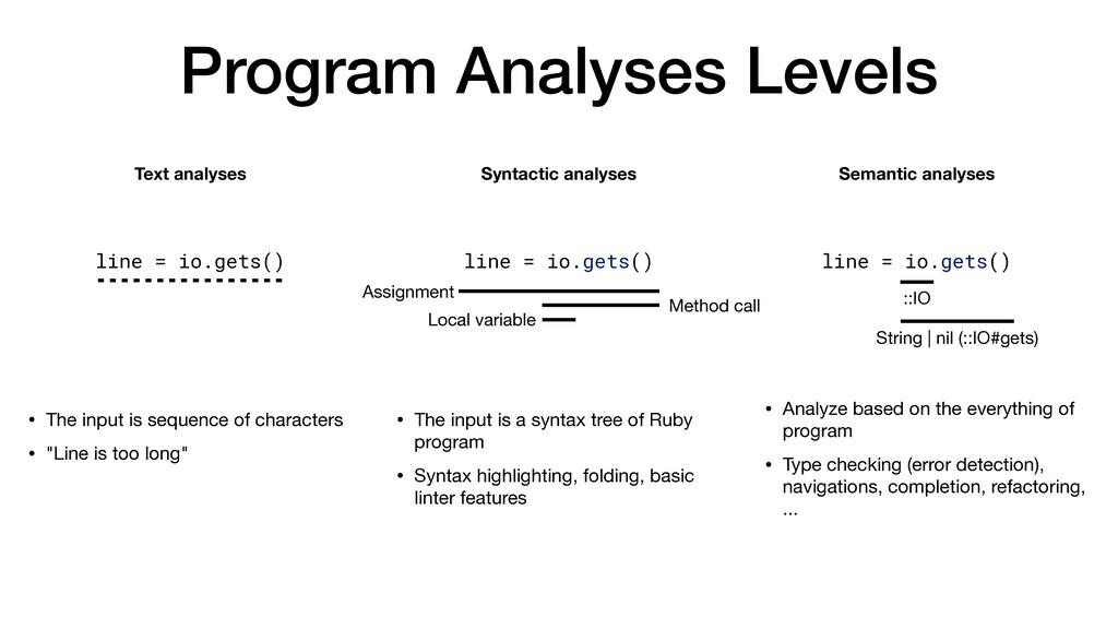 Program Analyses Levels Text analyses Syntactic...