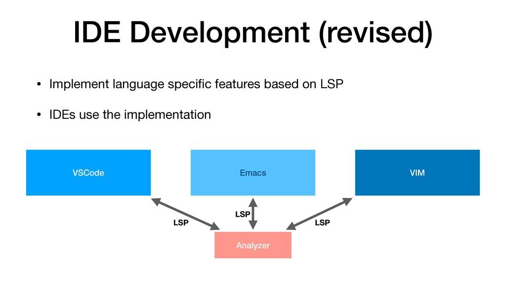 IDE Development (revised) • Implement language ...