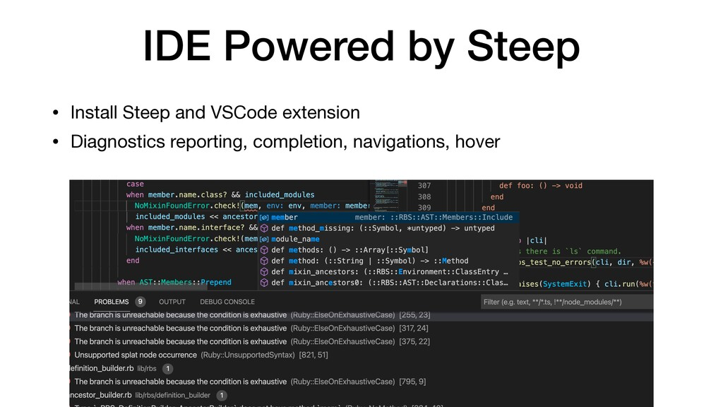 IDE Powered by Steep • Install Steep and VSCode...