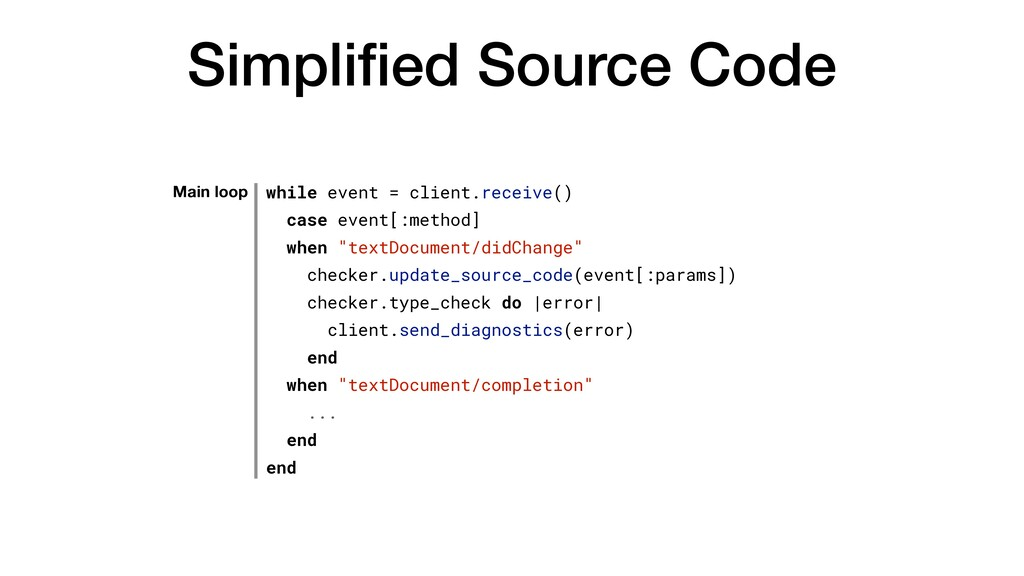 Simplified Source Code while event = client.rece...