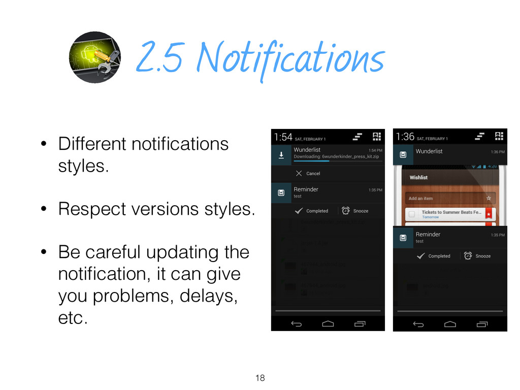 2.5 Notifications • Different notifications styl...