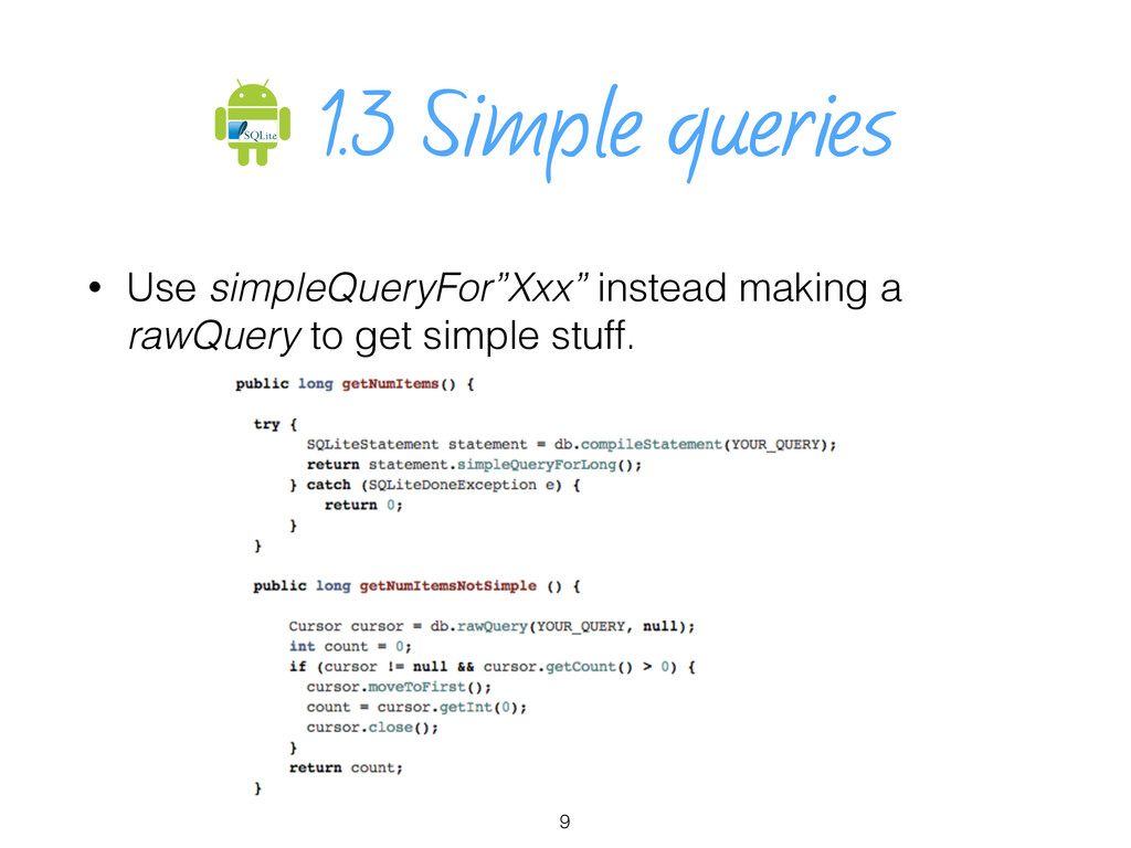 """1.3 Simple queries • Use simpleQueryFor""""Xxx"""" in..."""