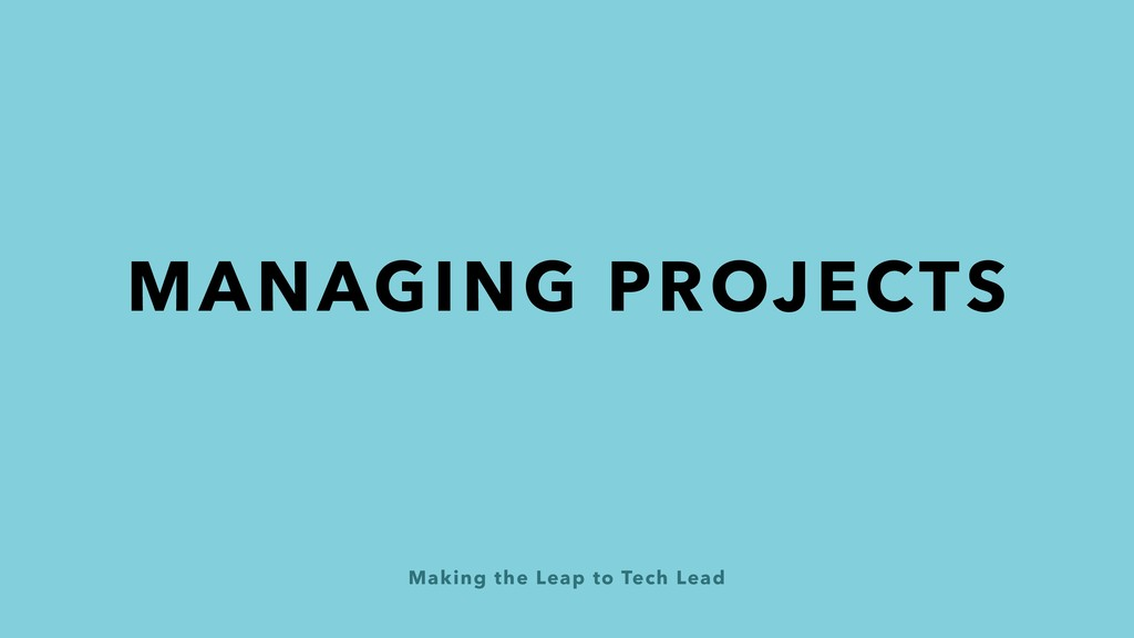 Making the Leap to Tech Lead MANAGING PROJECTS