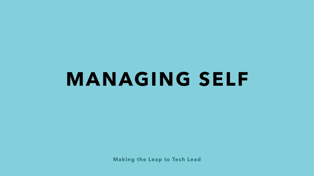 Making the Leap to Tech Lead MANAGING SELF