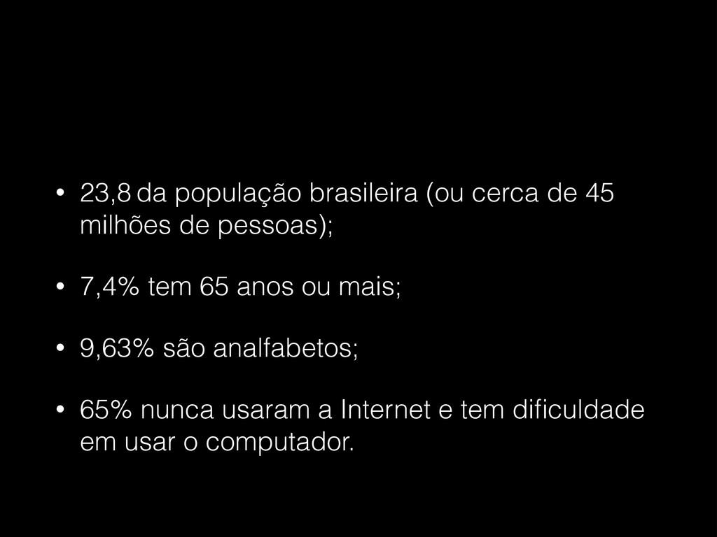 • 23,8 da população brasileira (ou cerca de 45 ...