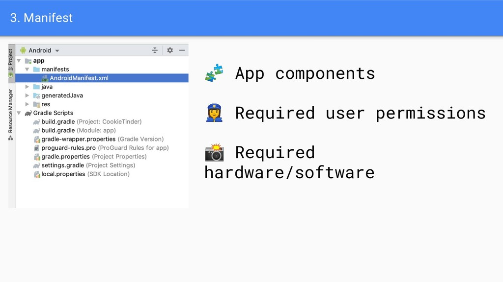 3. Manifest  App components ‍♀ Required user pe...