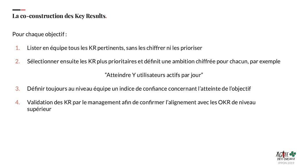 IPPON 2019 La co-construction des Key Results. ...