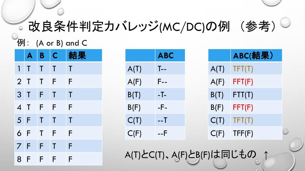 (MC/DC)  A B C   1 T T T T 2 T...