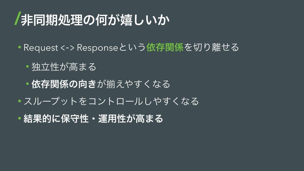 • Request <-> Responseͱ͍͏ґଘؔΛΓͤΔ • ಠཱੑ͕ߴ·Δ •...
