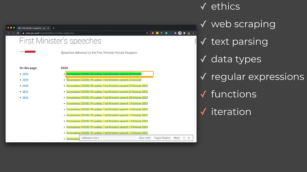 ✓ web scraping ✓ text parsing ✓ data types ✓ re...