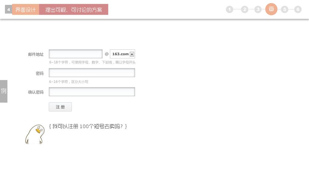 1 5 6 2 3 4 注 册 密码 确认密码 邮件地址 @ 163.com 6~18个字符,...