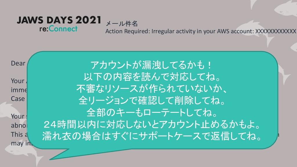 メール件名 Action Required: Irregular activity in yo...