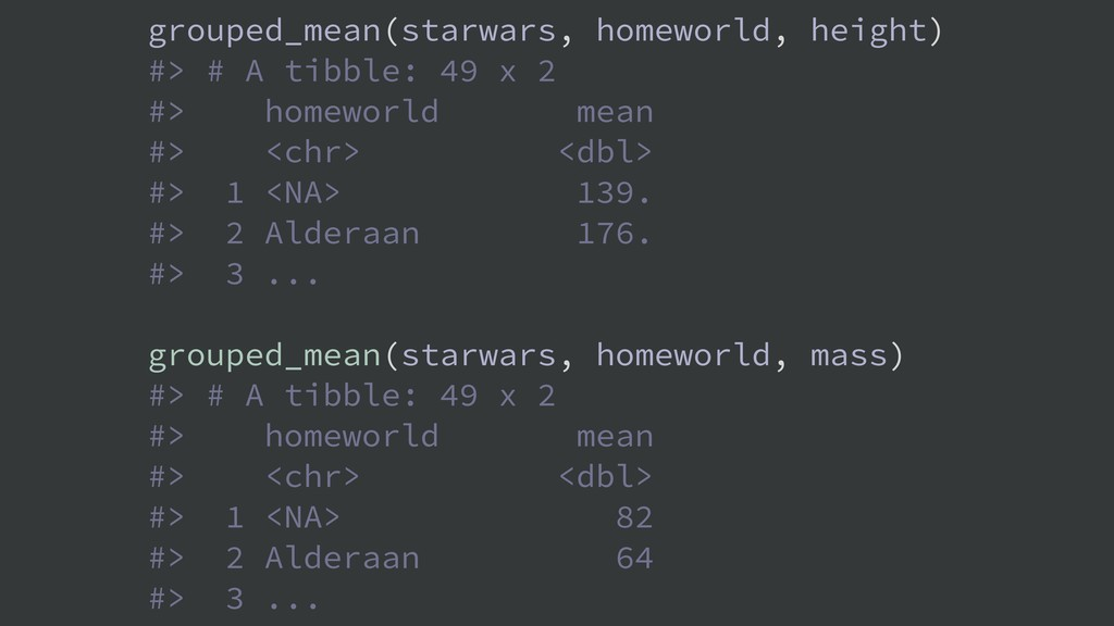 grouped_mean(starwars, homeworld, height) #> # ...