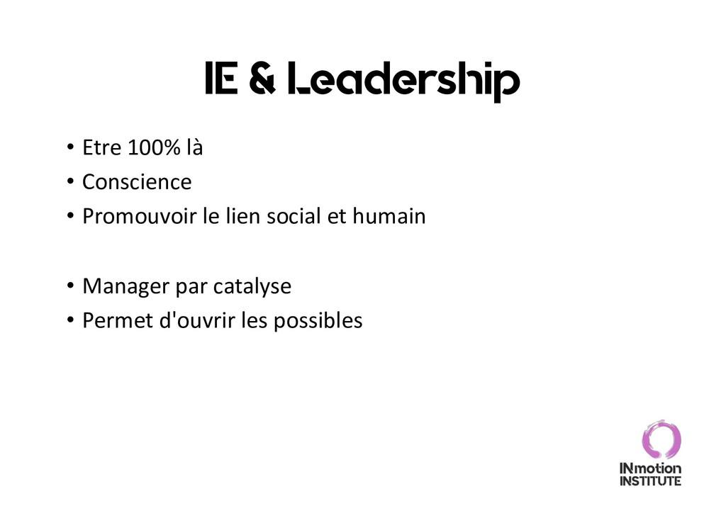IE & Leadership • Etre 100% là • Conscience • P...