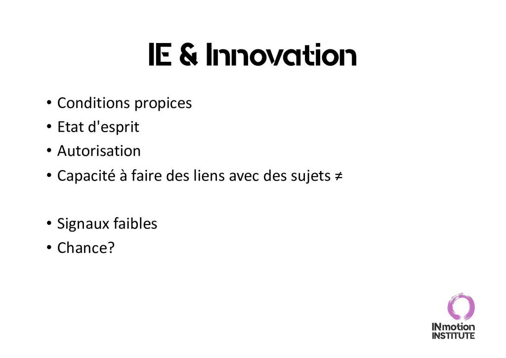 IE & Innovation • Conditions propices • Etat d'...