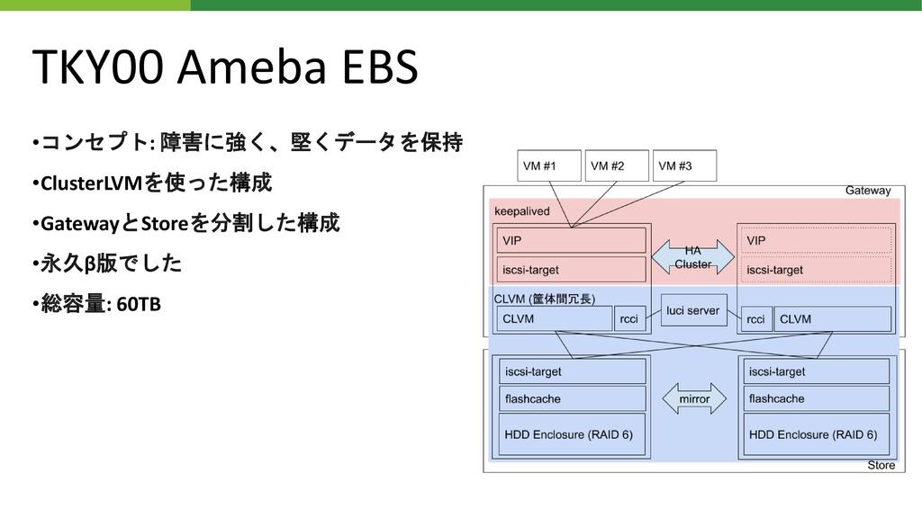 TKY00 Ameba EBS •コンセプト: 障害に強く、堅くデータを保持 •Cluster...