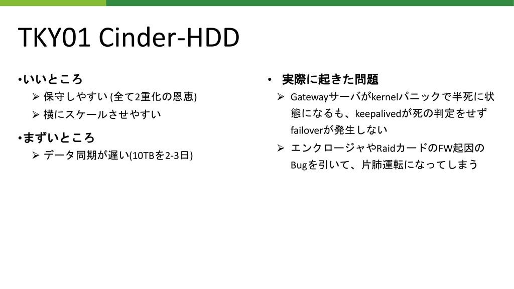 TKY01 Cinder-HDD •いいところ ⮚ 保守しやすい (全て2重化の恩恵) ⮚ 横...