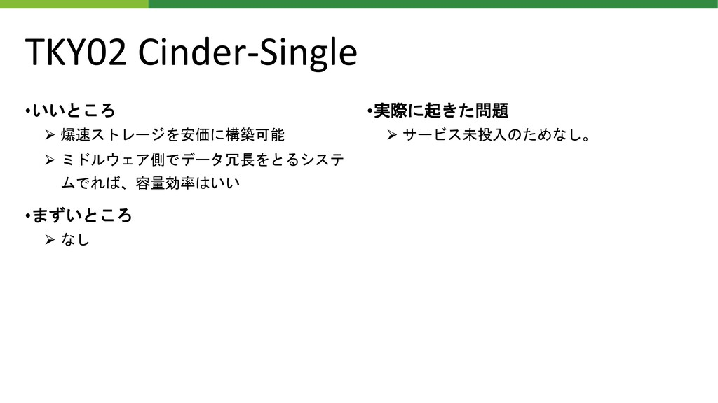 TKY02 Cinder-Single •いいところ ⮚ 爆速ストレージを安価に構築可能 ⮚ ...