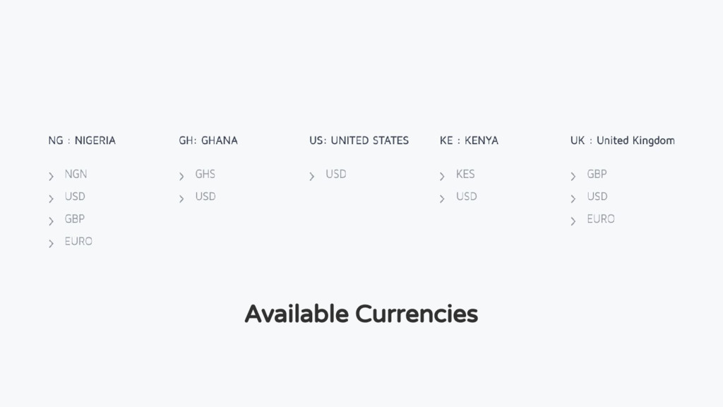 Available Currencies