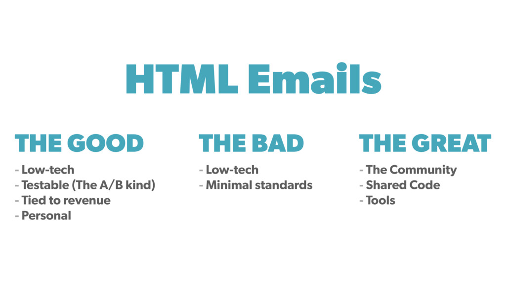 THE GOOD - Low-tech - Testable (The A/B kind) -...
