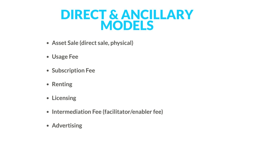 DIRECT & ANCILLARY MODELS • Asset Sale (direct ...