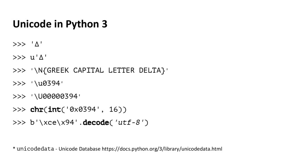 Unicode in Python 3 >>> 'Δ' >>> u'Δ' >>> '\N{GR...