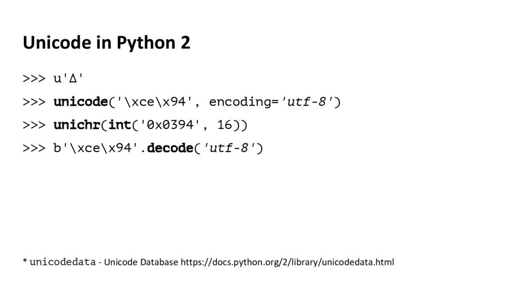 Unicode in Python 2 >>> u'Δ' >>> unicode('\xce\...