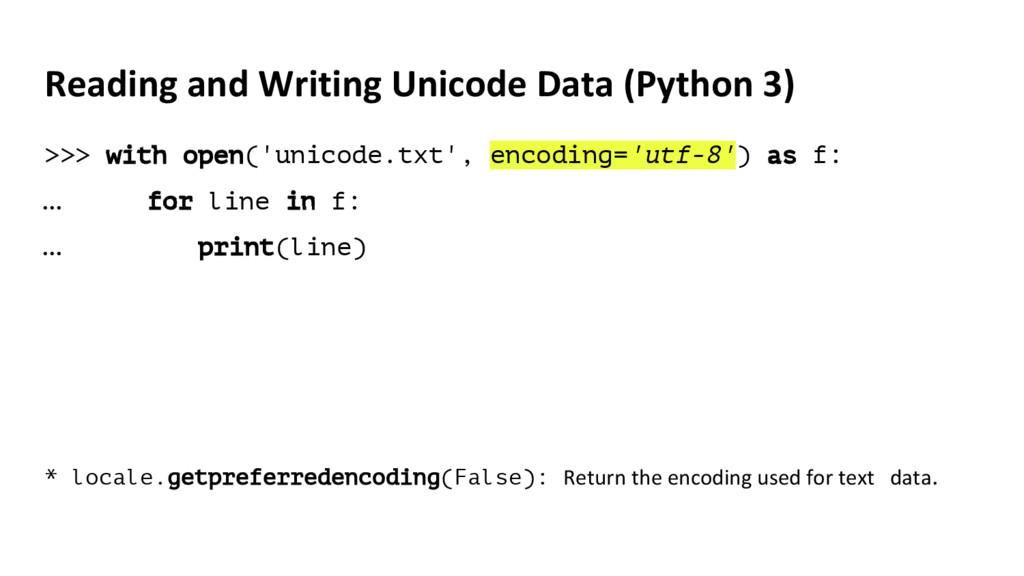 Reading and Writing Unicode Data (Python 3) >>>...