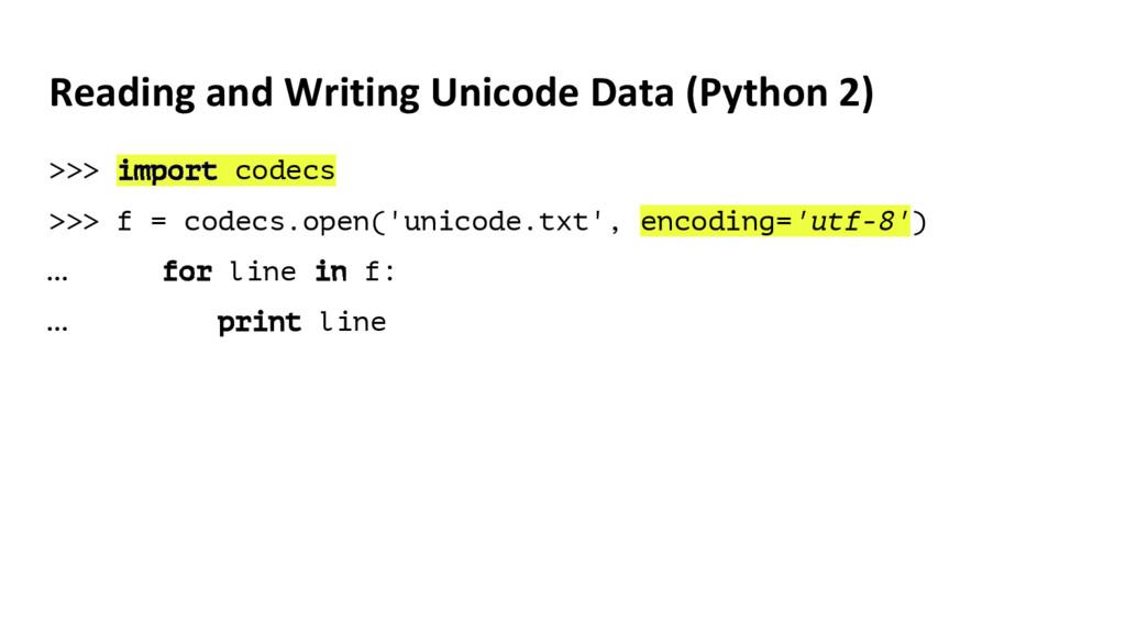 Reading and Writing Unicode Data (Python 2) >>>...