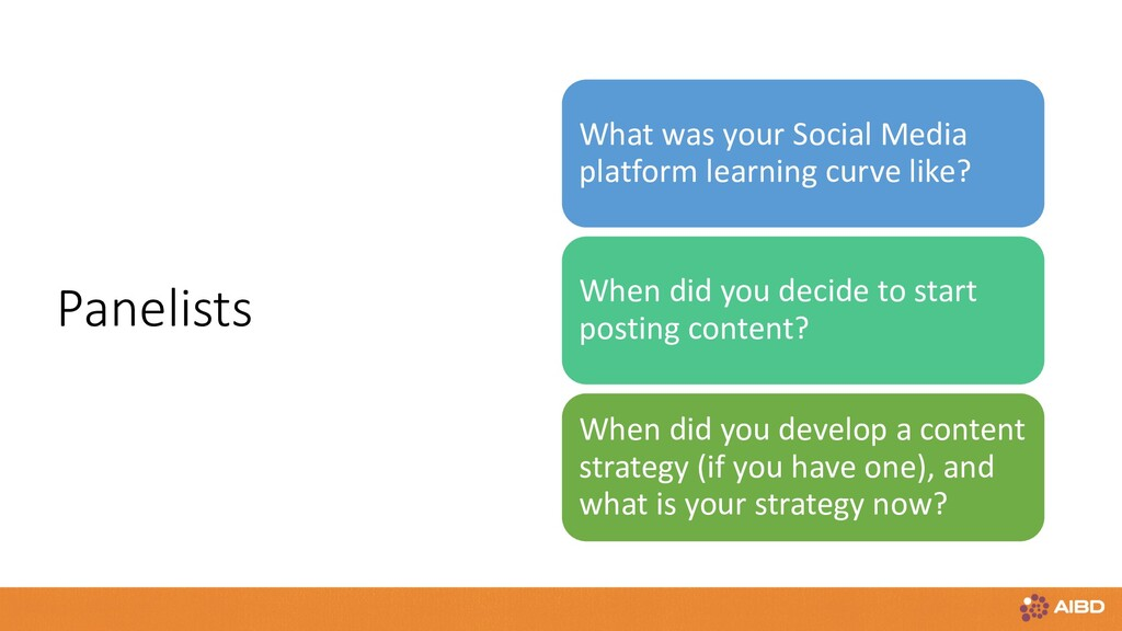 Panelists What was your Social Media platform l...