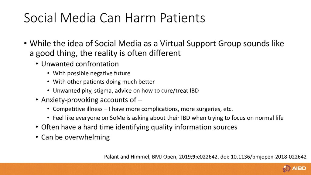 Social Media Can Harm Patients • While the idea...