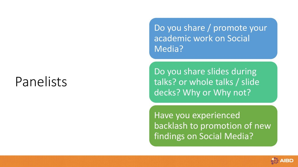 Panelists Do you share / promote your academic ...