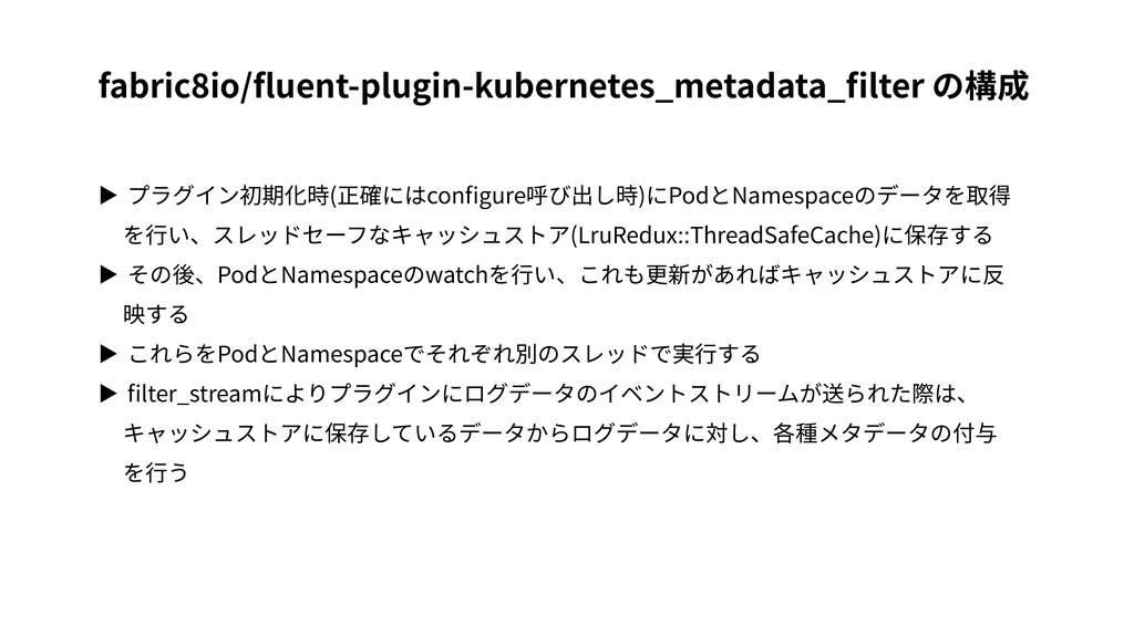 ▶ プラグイン初期化時(正確にはconfigure呼び出し時)にPodとNamespaceのデー...