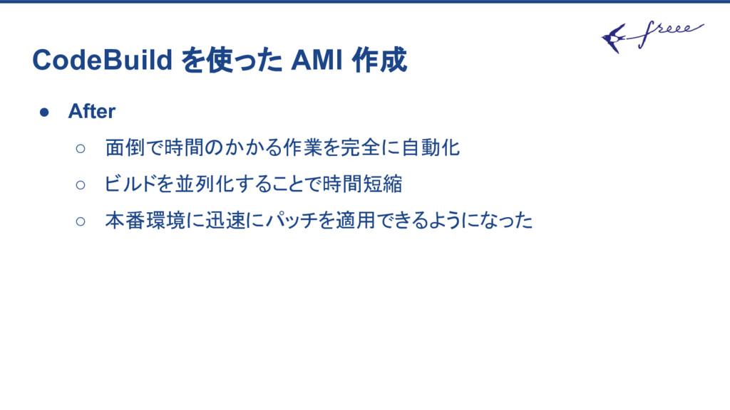 CodeBuild を使った AMI 作成 ● After ○ 面倒で時間のかかる作業を完全に...