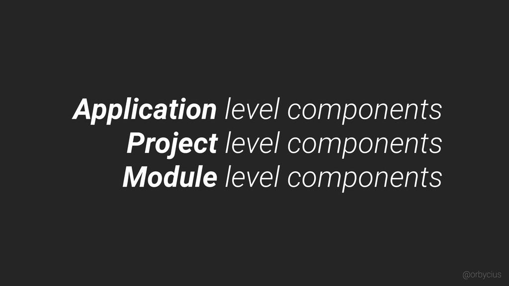 Application level components Project level comp...
