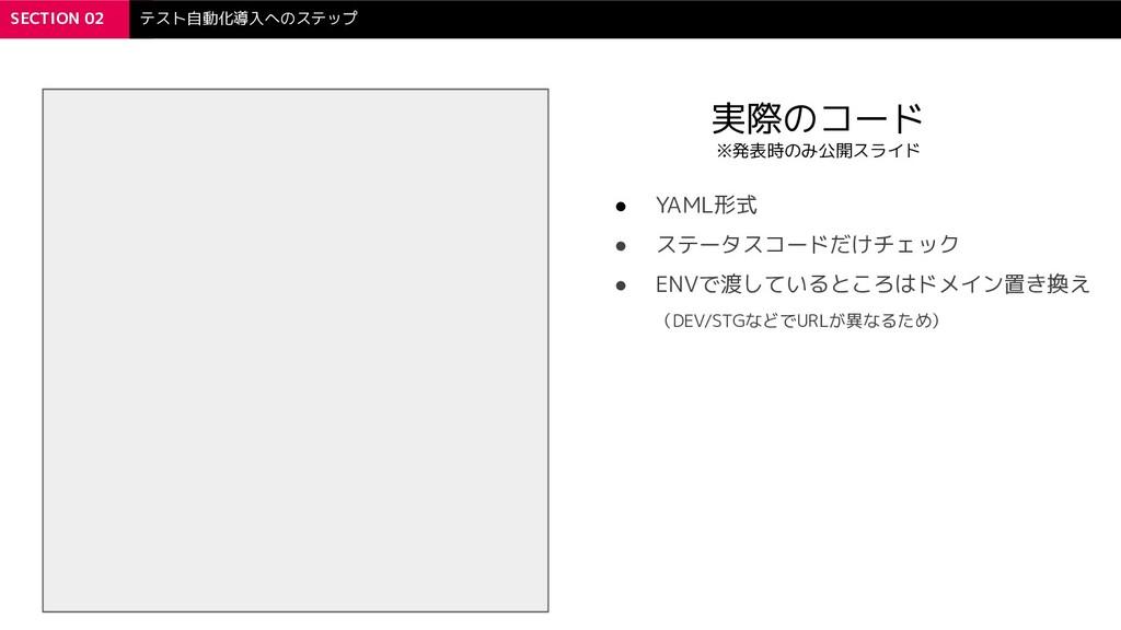 SECTION 02 テスト自動化導入へのステップ 実際のコード ※発表時のみ公開スライド ●...