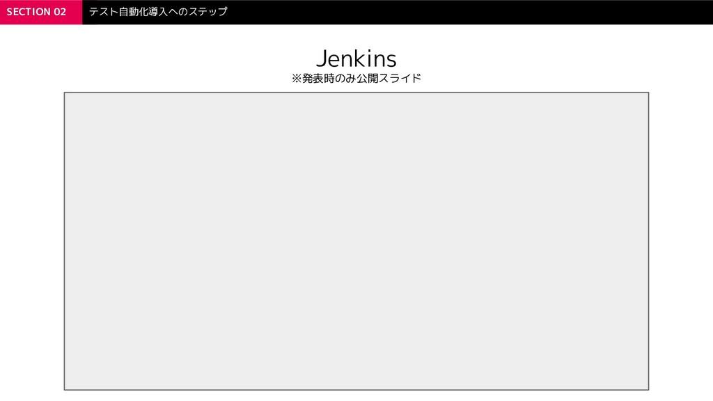 SECTION 02 テスト自動化導入へのステップ Jenkins ※発表時のみ公開スライド