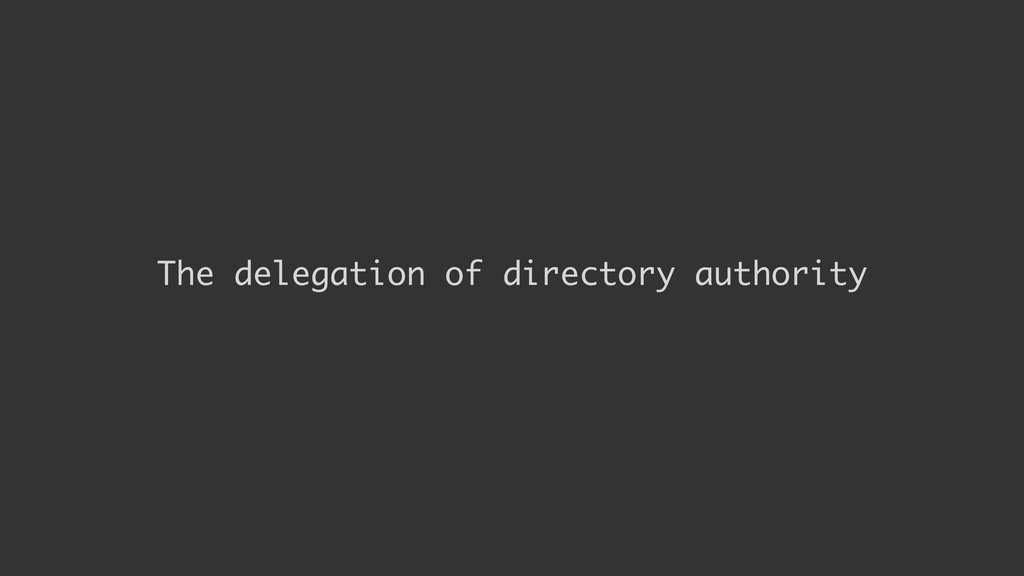 The delegation of directory authority