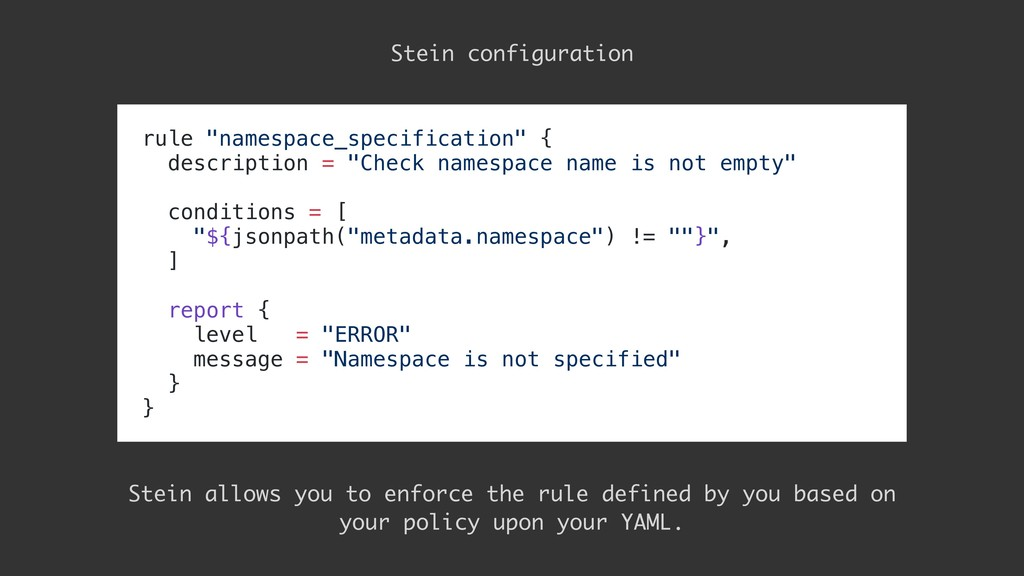"rule ""namespace_specification"" { description = ..."
