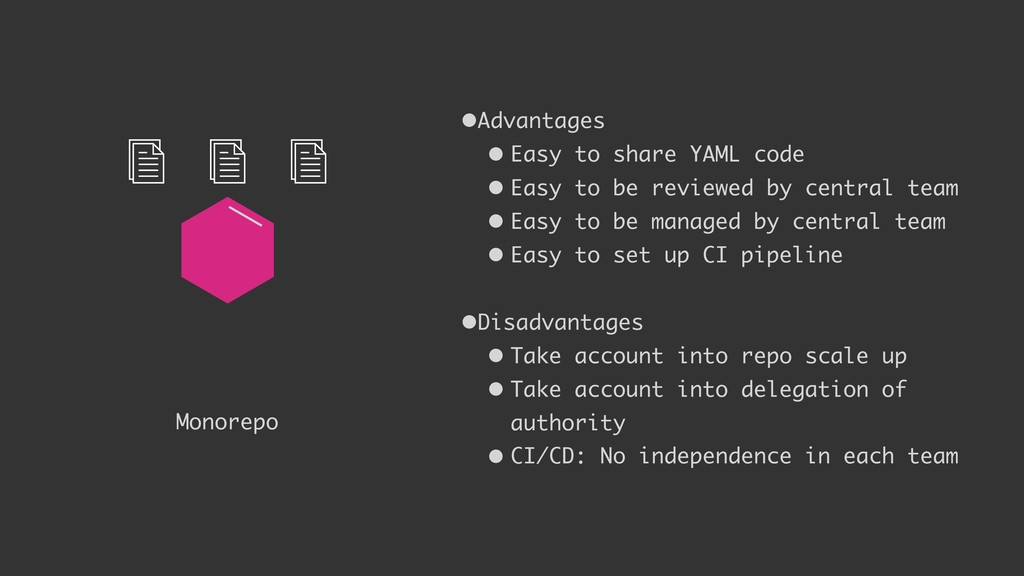 Monorepo •Advantages • Easy to share YAML code ...