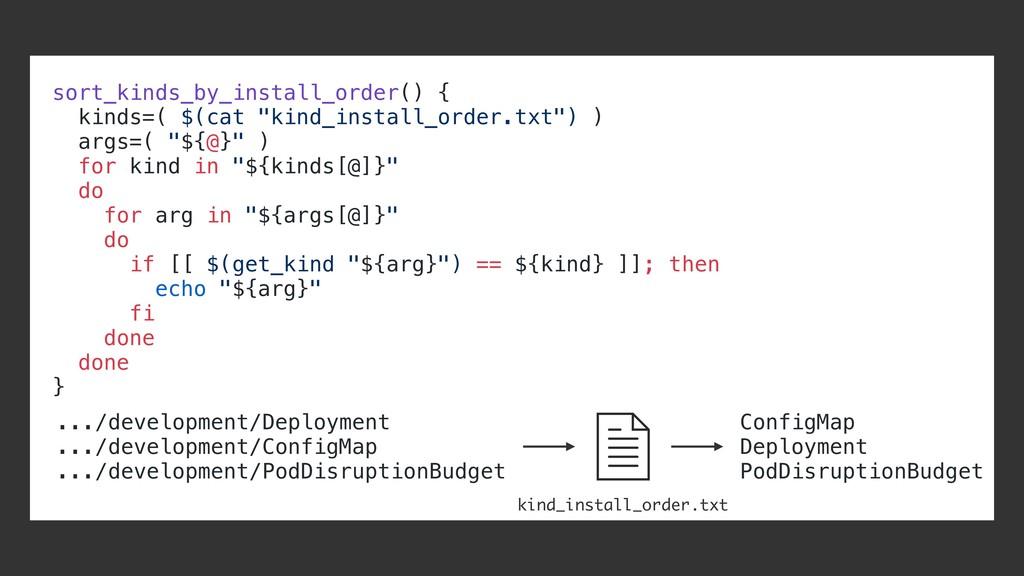 "sort_kinds_by_install_order() { kinds=( $(cat ""..."