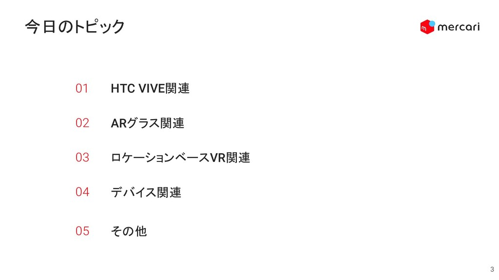 HTC VIVE関連 3 今日のトピック 01 ARグラス関連 02 ロケーションベースVR関...