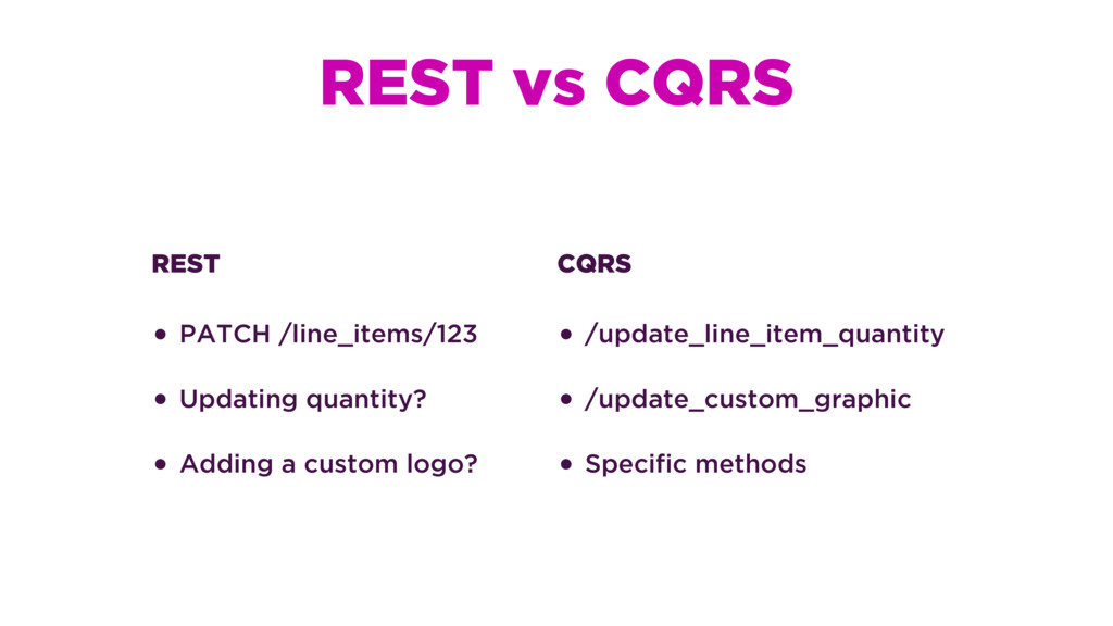 REST vs CQRS REST • PATCH /line_items/123 • Upd...