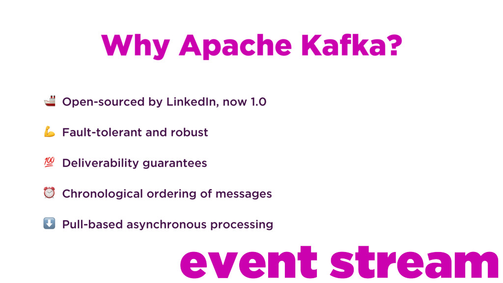 Why Apache Kafka?  Open-sourced by LinkedIn, no...