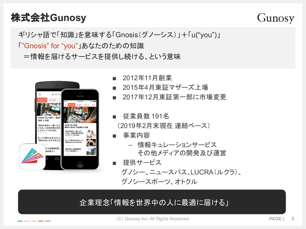 (C) Gunosy Inc. All Rights Reserved. PAGE | 5 株...