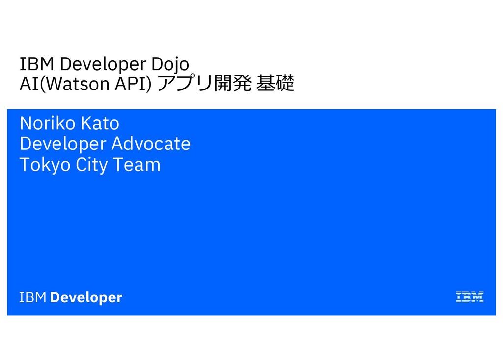 IBM Developer Dojo AI(Watson API) アプリ開発 基礎 Nori...