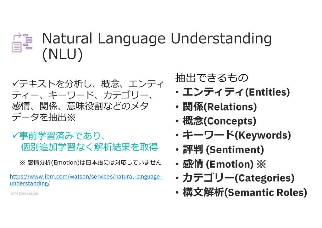 Natural Language Understanding (NLU) üテキストを分析し、...