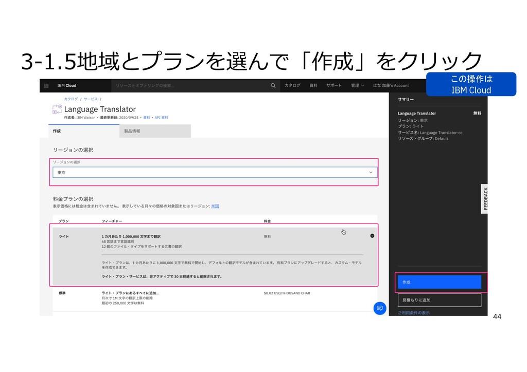 3-1.5地域とプランを選んで「作成」をクリック 44 この操作は IBM Cloud
