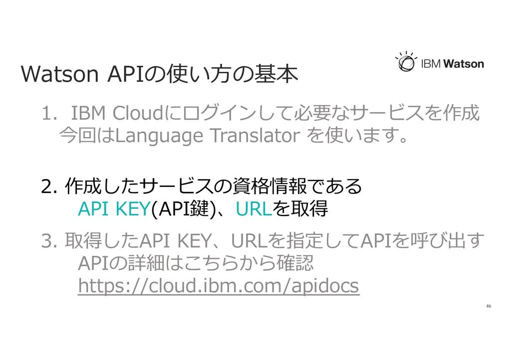 Watson APIの使い⽅の基本 46 1. IBM Cloudにログインして必要なサービス...