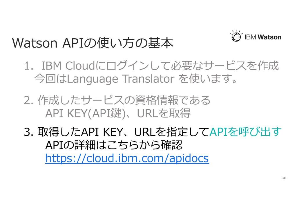 Watson APIの使い⽅の基本 50 1. IBM Cloudにログインして必要なサービス...